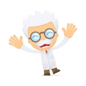 funny cartoon scientist in various poses for use in advertising, presentations, brochures, blogs, documents and forms, etc.